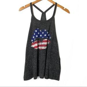 American Flag Lip Print Tank Top T-Shirt July 4th